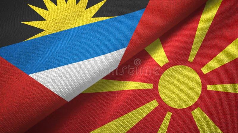 Tissu de textile de drapeaux de l'Antigua-et-Barbuda et de Macédoine deux, texture de tissu illustration de vecteur