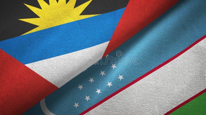 Tissu de textile de drapeaux de l'Antigua-et-Barbuda et de l'Ouzbékistan deux, texture de tissu illustration de vecteur