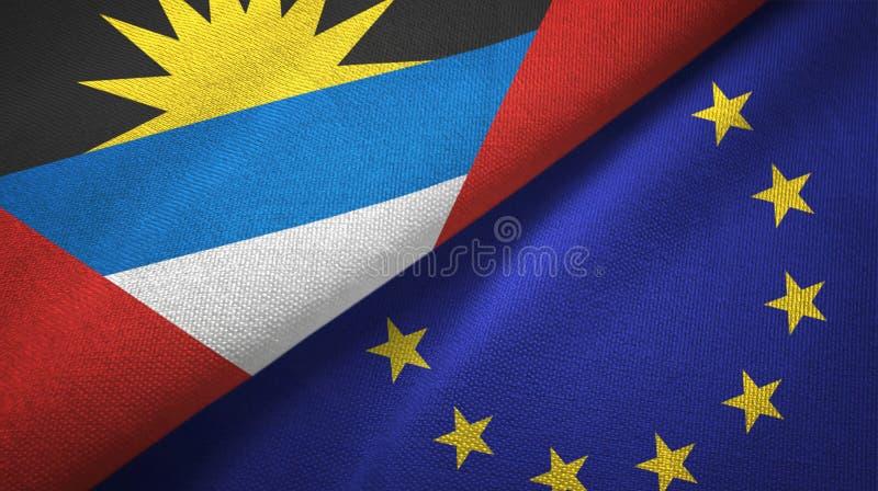 Tissu de textile de drapeaux de l'Antigua-et-Barbuda et de l'Union européenne deux, texture de tissu illustration de vecteur