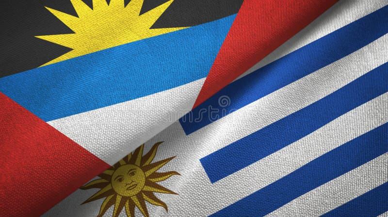 Tissu de textile de drapeaux de l'Antigua-et-Barbuda et de l'Uruguay deux, texture de tissu illustration de vecteur