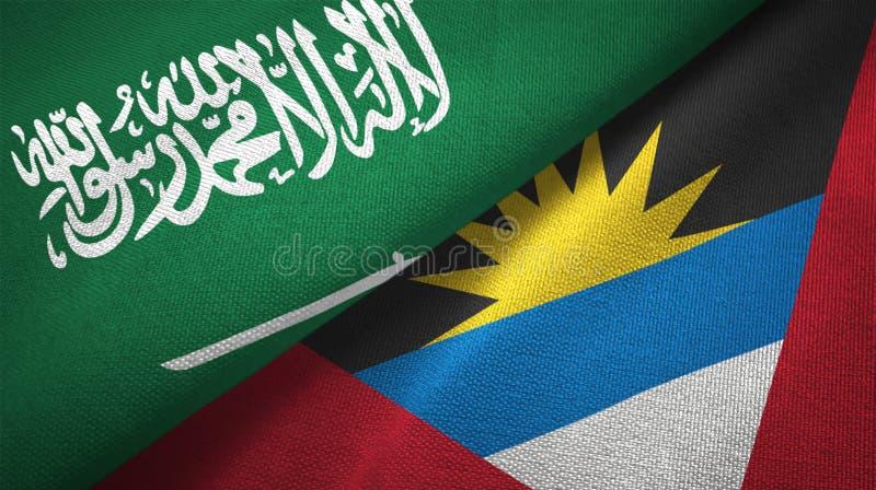Tissu de textile de drapeaux de l'Arabie Saoudite et de l'Antigua-et-Barbuda deux, texture de tissu illustration de vecteur