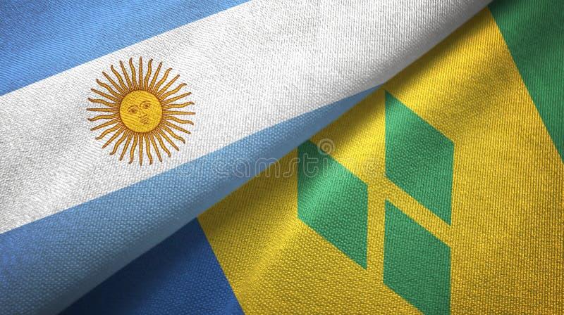 Tissu de textile de drapeaux de l'Argentine et du Saint-Vincent-et-les-Grenadines deux illustration de vecteur