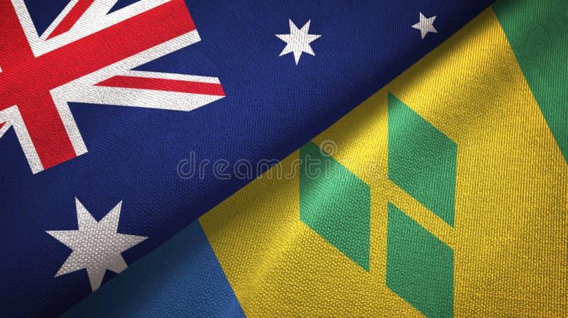Tissu de textile de drapeaux de l'Australie et du Saint-Vincent-et-les-Grenadines deux illustration stock