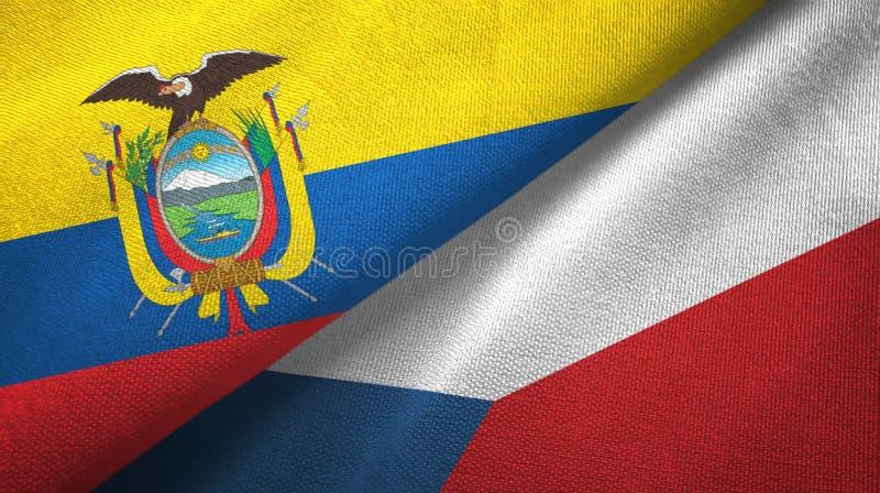 Tissu de textile de drapeaux de l'Equateur et de la R?publique Tch?que deux, texture de tissu illustration stock