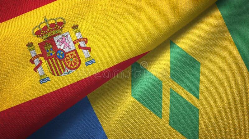 Tissu de textile de drapeaux de l'Espagne et du Saint-Vincent-et-les-Grenadines deux illustration stock