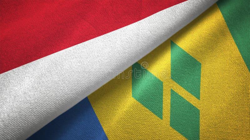 Tissu de textile de drapeaux de l'Indonésie et du Saint-Vincent-et-les-Grenadines deux illustration libre de droits