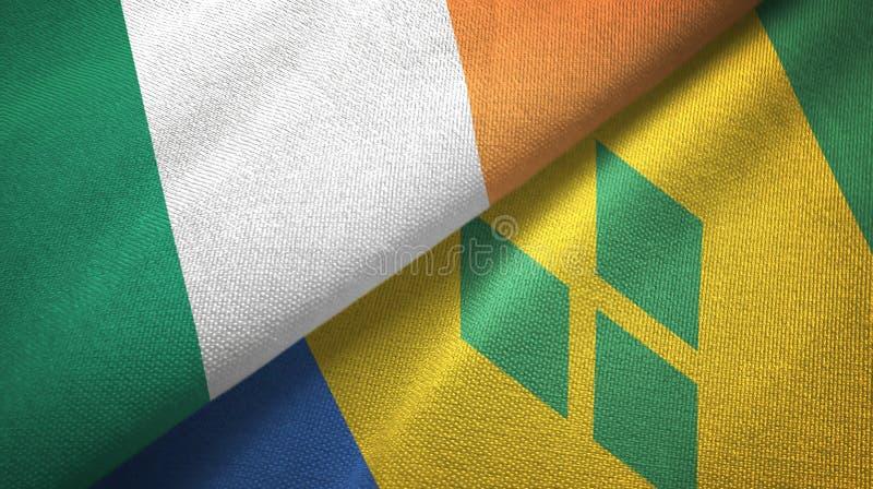 Tissu de textile de drapeaux de l'Irlande et du Saint-Vincent-et-les-Grenadines deux illustration de vecteur