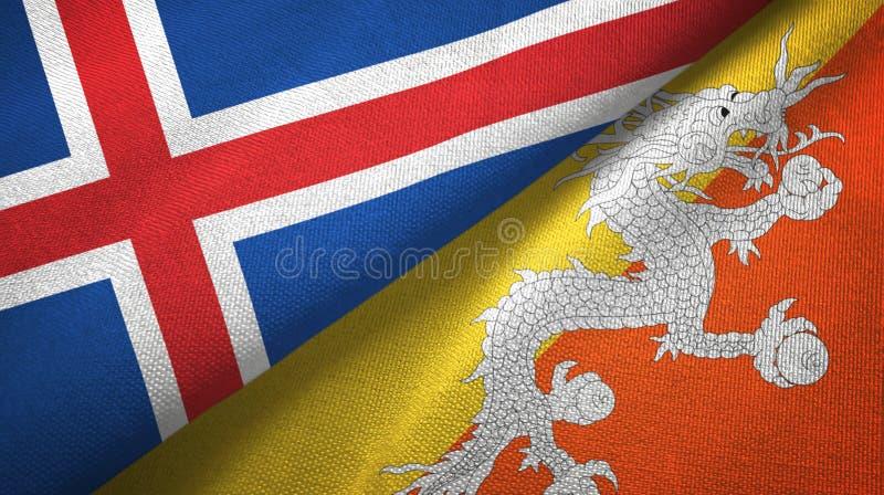 Tissu de textile de drapeaux de l'Islande et du Bhutan deux, texture de tissu illustration de vecteur