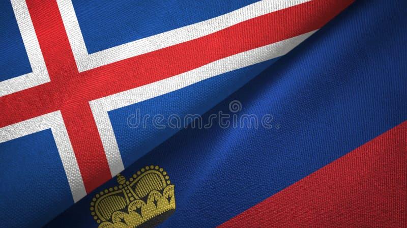 Tissu de textile de drapeaux de l'Islande et de la Liechtenstein deux, texture de tissu illustration libre de droits