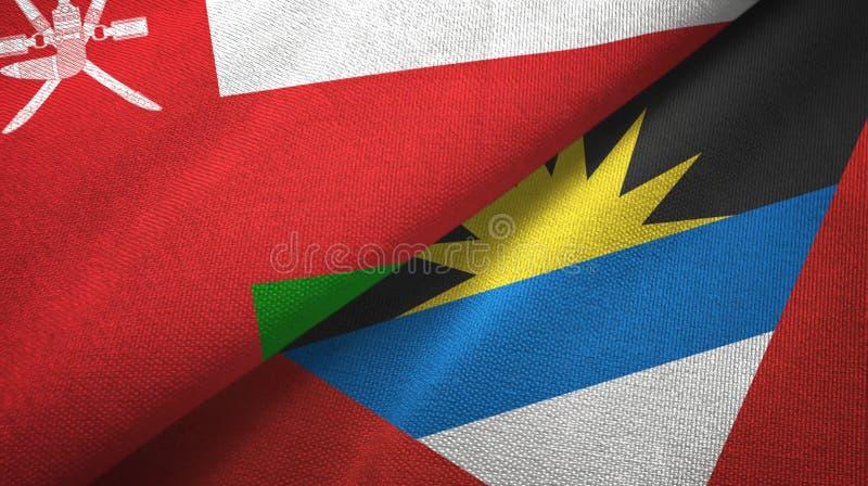 Tissu de textile de drapeaux de l'Oman et de l'Antigua-et-Barbuda deux, texture de tissu illustration de vecteur