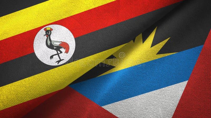 Tissu de textile de drapeaux de l'Ouganda et de l'Antigua-et-Barbuda deux, texture de tissu illustration de vecteur