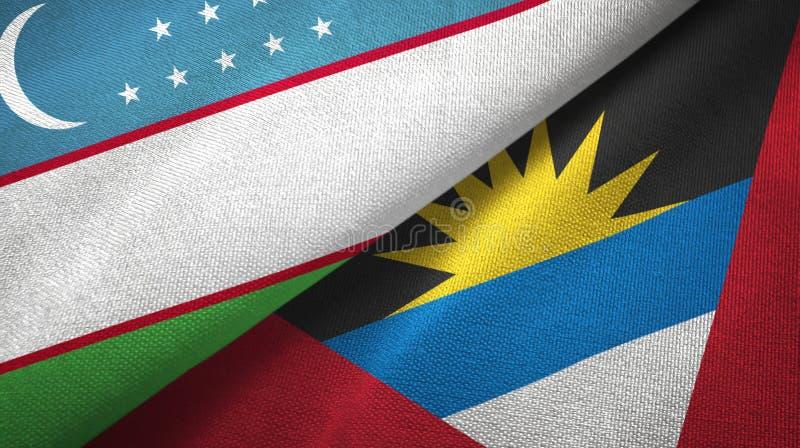 Tissu de textile de drapeaux de l'Ouzbékistan et de l'Antigua-et-Barbuda deux, texture de tissu illustration stock