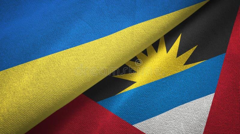 Tissu de textile de drapeaux de l'Ukraine et de l'Antigua-et-Barbuda deux, texture de tissu illustration stock