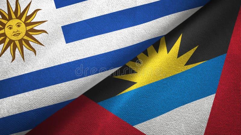 Tissu de textile de drapeaux de l'Uruguay et de l'Antigua-et-Barbuda deux, texture de tissu illustration libre de droits