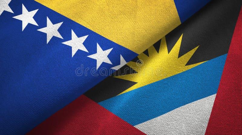 Tissu de textile de drapeaux de la Bosnie-Herzégovine et de l'Antigua-et-Barbuda deux illustration libre de droits