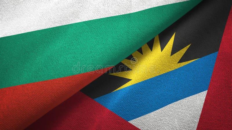 Tissu de textile de drapeaux de la Bulgarie et de l'Antigua-et-Barbuda deux, texture de tissu illustration stock