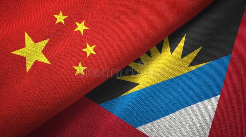 Tissu de textile de drapeaux de la Chine et de l'Antigua-et-Barbuda deux, texture de tissu illustration stock