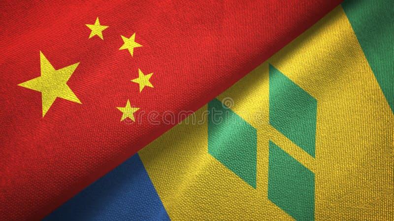 Tissu de textile de drapeaux de la Chine et de Saint-Vincent-et-les-Grenadines deux illustration stock