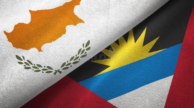 Tissu de textile de drapeaux de la Chypre et de l'Antigua-et-Barbuda deux, texture de tissu illustration de vecteur