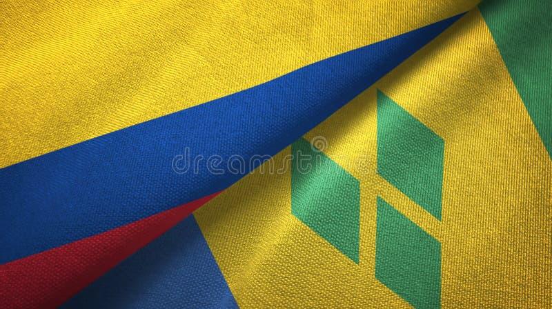 Tissu de textile de drapeaux de la Colombie et du Saint-Vincent-et-les-Grenadines deux illustration libre de droits