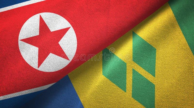 Tissu de textile de drapeaux de la Corée du Nord et du Saint-Vincent-et-les-Grenadines deux illustration de vecteur