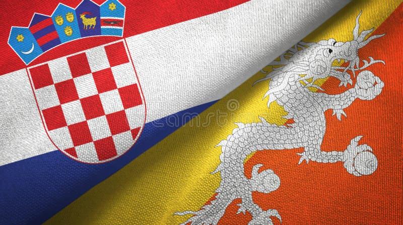 Tissu de textile de drapeaux de la Croatie et du Bhutan deux, texture de tissu illustration stock