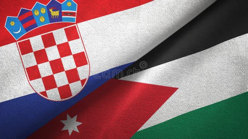 Tissu de textile de drapeaux de la Croatie et de la Jordanie deux, texture de tissu illustration stock