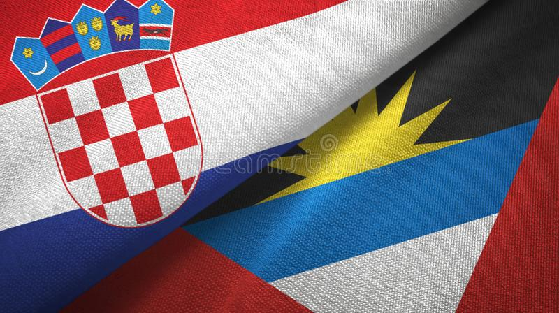 Tissu de textile de drapeaux de la Croatie et de l'Antigua-et-Barbuda deux, texture de tissu illustration de vecteur