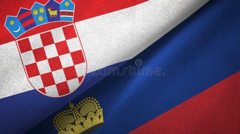 Tissu de textile de drapeaux de la Croatie et de la Liechtenstein deux, texture de tissu illustration de vecteur