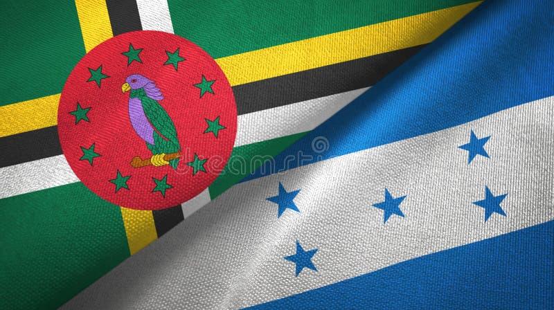 Tissu de textile de drapeaux de la Dominique et du Honduras deux, texture de tissu illustration stock