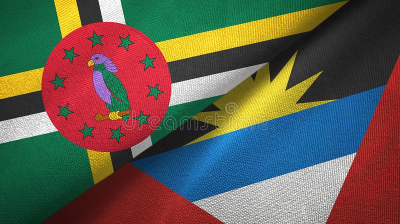 Tissu de textile de drapeaux de la Dominique et de l'Antigua-et-Barbuda deux, texture de tissu illustration libre de droits