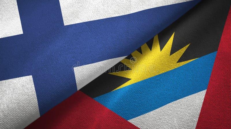 Tissu de textile de drapeaux de la Finlande et de l'Antigua-et-Barbuda deux, texture de tissu illustration stock