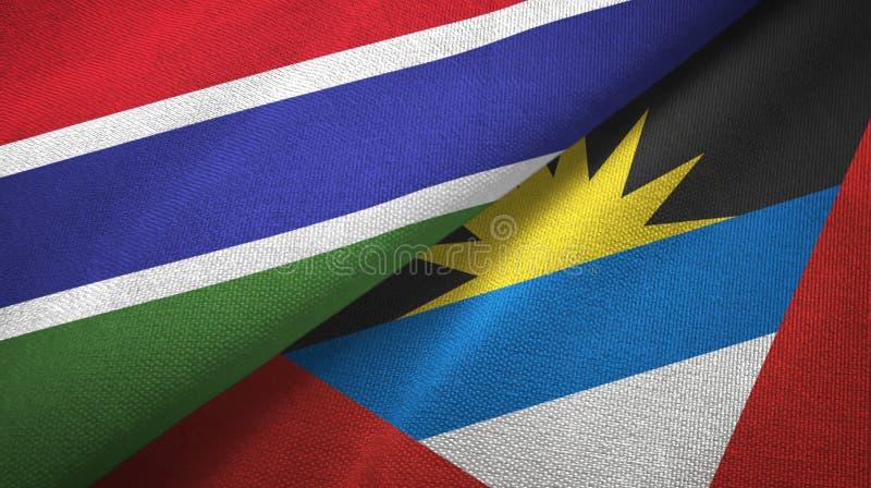 Tissu de textile de drapeaux de la Gambie et de l'Antigua-et-Barbuda deux, texture de tissu illustration libre de droits