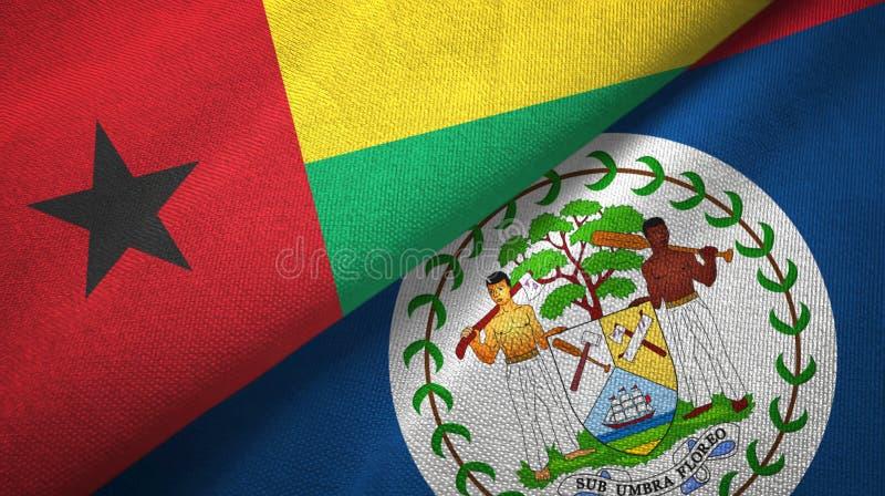 Tissu de textile de drapeaux de la Guin?e-Bissau et de Belize deux, texture de tissu illustration de vecteur