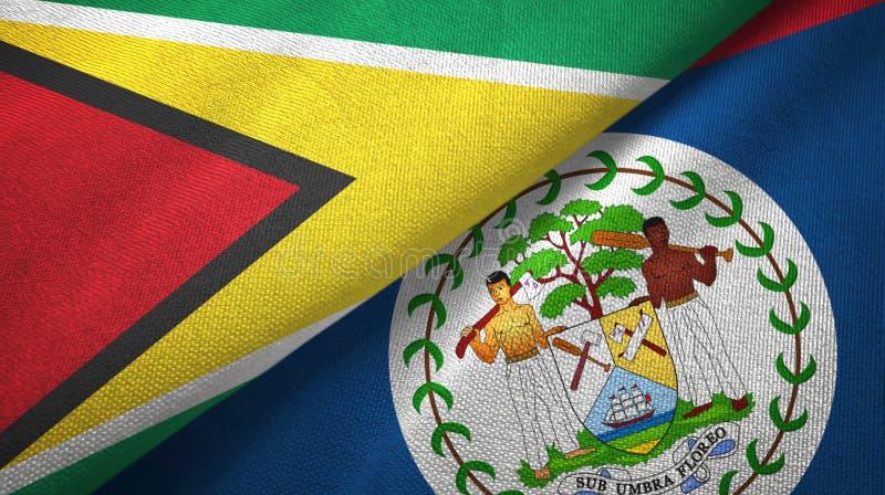 Tissu de textile de drapeaux de la Guyane et de Belize deux, texture de tissu illustration libre de droits