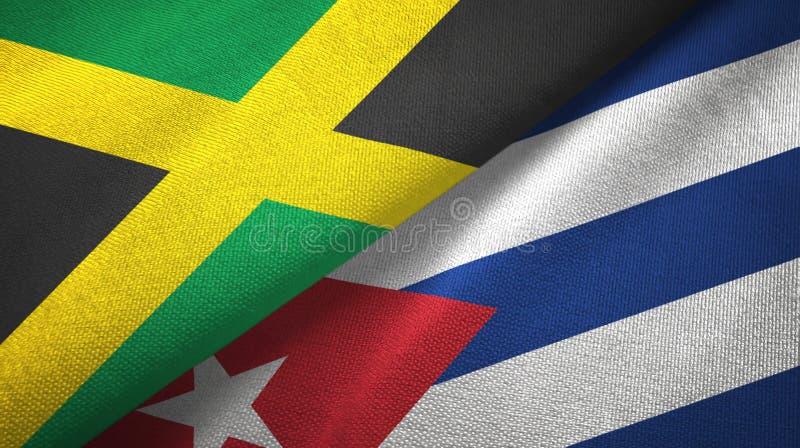 Tissu de textile de drapeaux de la Jamaïque et du Cuba deux, texture de tissu illustration de vecteur