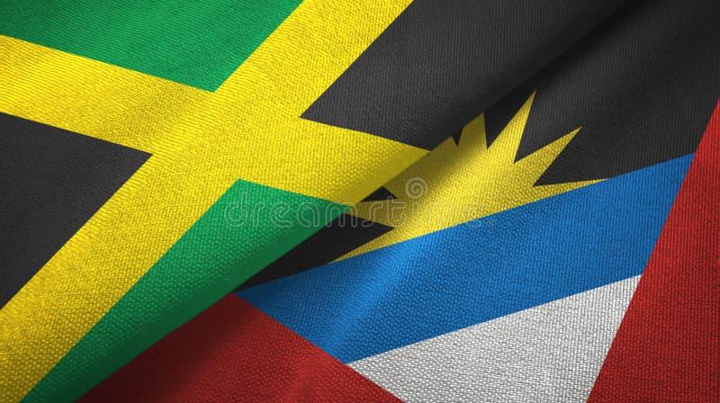 Tissu de textile de drapeaux de la Jamaïque et de l'Antigua-et-Barbuda deux, texture de tissu illustration libre de droits