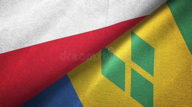 Tissu de textile de drapeaux de la Pologne et du Saint-Vincent-et-les-Grenadines deux illustration stock