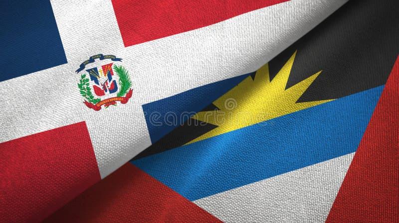 Tissu de textile de drapeaux de la République Dominicaine et de l'Antigua-et-Barbuda deux illustration de vecteur