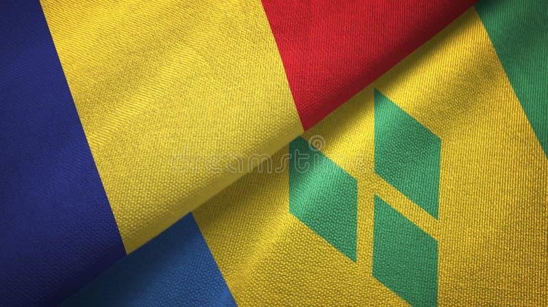 Tissu de textile de drapeaux de la Roumanie et du Saint-Vincent-et-les-Grenadines deux illustration de vecteur