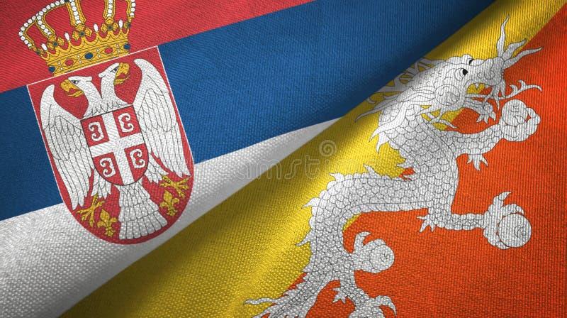 Tissu de textile de drapeaux de la Serbie et du Bhutan deux, texture de tissu illustration libre de droits