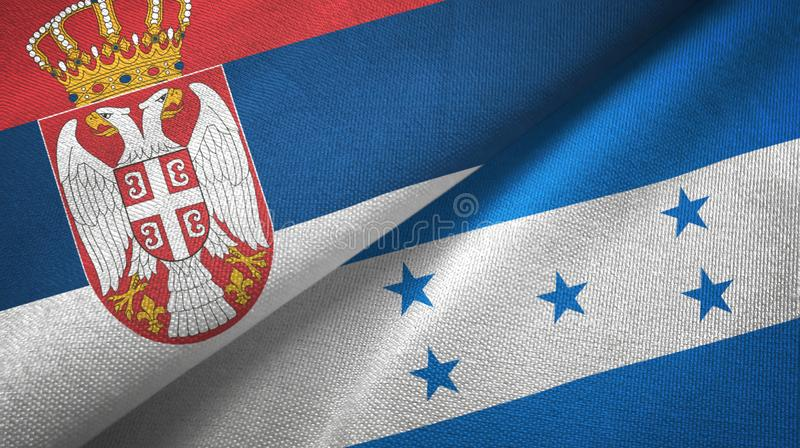Tissu de textile de drapeaux de la Serbie et du Honduras deux, texture de tissu illustration libre de droits
