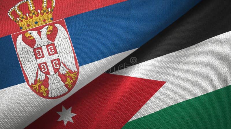 Tissu de textile de drapeaux de la Serbie et de la Jordanie deux, texture de tissu illustration stock