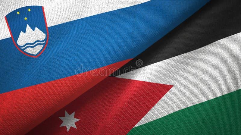 Tissu de textile de drapeaux de la Slovénie et de la Jordanie deux, texture de tissu illustration stock