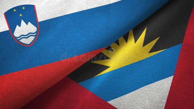 Tissu de textile de drapeaux de la Slovénie et de l'Antigua-et-Barbuda deux, texture de tissu illustration libre de droits