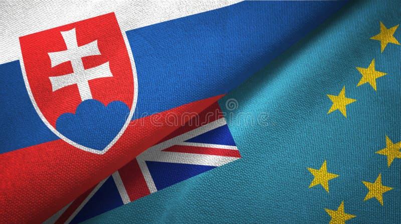 Tissu de textile de drapeaux de la Slovaquie et du Tuvalu deux, texture de tissu illustration stock