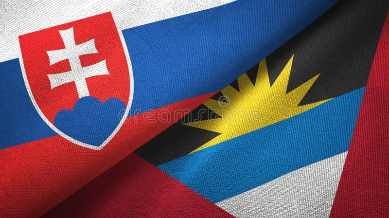 Tissu de textile de drapeaux de la Slovaquie et de l'Antigua-et-Barbuda deux, texture de tissu illustration libre de droits