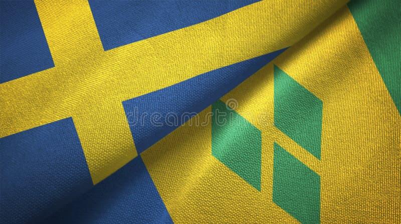 Tissu de textile de drapeaux de la Suède et du Saint-Vincent-et-les-Grenadines deux illustration stock