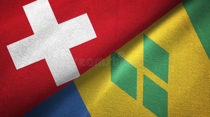 Tissu de textile de drapeaux de la Suisse et du Saint-Vincent-et-les-Grenadines deux illustration stock