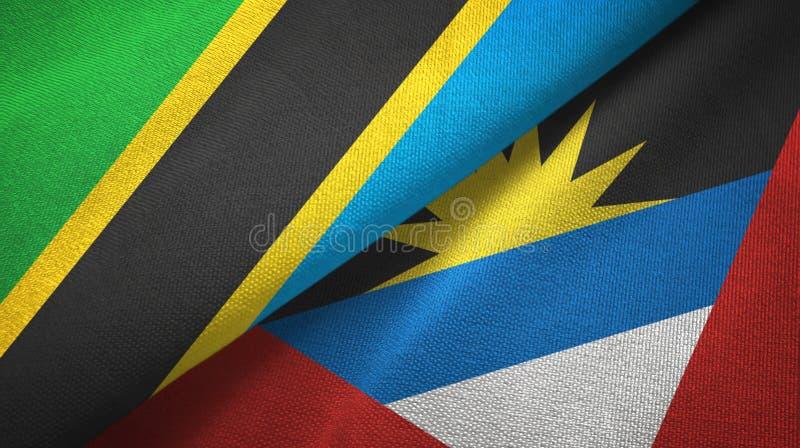 Tissu de textile de drapeaux de la Tanzanie et de l'Antigua-et-Barbuda deux, texture de tissu illustration de vecteur